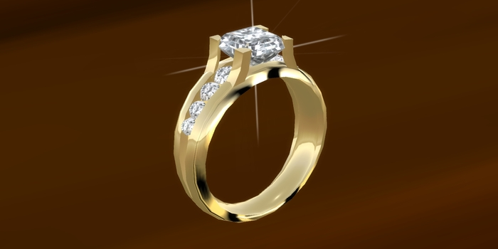 Crystal Gold Diamond Solitaire Engagement Round Cut Genuine Crystal Ring Boxed
