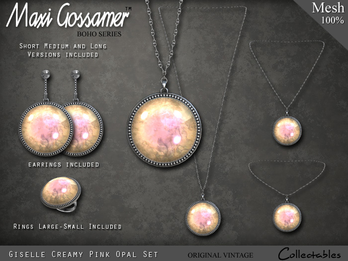 Necklace Giselle Opal Set - Creamy Pink