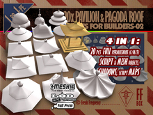 [FFBox] 20x Pavilion & Pagoda Roof Shapes-02 {MESH+Sculpt+Maps+Shadow, CMT} for Builders