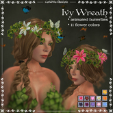 Ivy Wreath by Caverna Obscura with animated flying butterflies