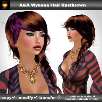 A&A Wynona Hair Rustbrown (side braid with colorable/show/hide streaks).