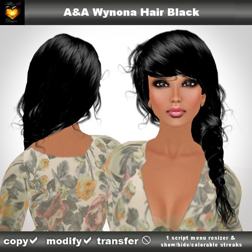 A&A Wynona Hair Black (color 1). Side braid with colorable/show/hide streaks