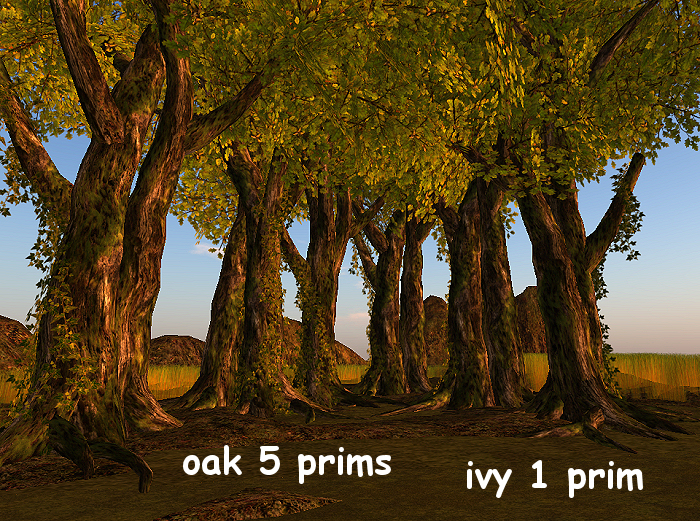 Mossy double oak with ivy 5+1 prim C/M