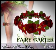 [Wishbox] Fairy Garter (Red) - Fae Flower Wreath for Thigh - Bridalwear, Weddings
