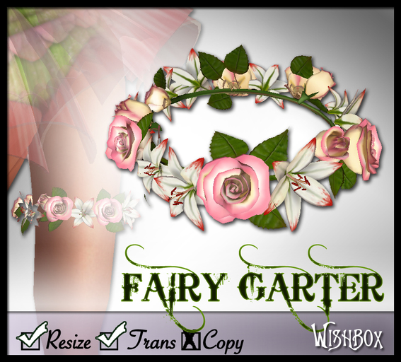 [Wishbox] Fairy Garter (Pink & White) - Fae Sculpted Roses and Lilies Flower Wreath Bridal / Wedding Medieval Fantasy