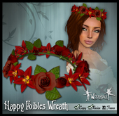 "[Wishbox] ""Happy Foibles"" - Hair Wreath of Sculpted Roses and Lilies (Red)"