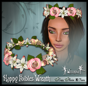 """[Wishbox] """"Happy Foibles"""" (Pink) - Hair Wreath of Roses and Lilies Crown - Medieval Fantasy"""
