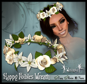 "[Wishbox] ""Happy Foibles"" (Cream) - Hair Wreath of Roses and Lilies Crown - Medieval Fantasy"