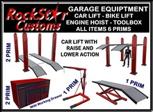 GARAGE EQUIPTMENT - CAR LIFT -BIKE LIFT - ENGINE HOIST - TOOL BOX