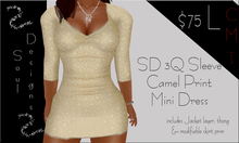 SD 3q sleeve Camel Print Mini Dress