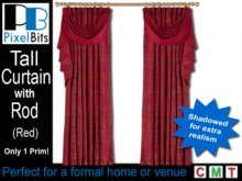Red Drapes with Rod - tall