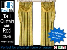Gold Drapes with Rod - tall