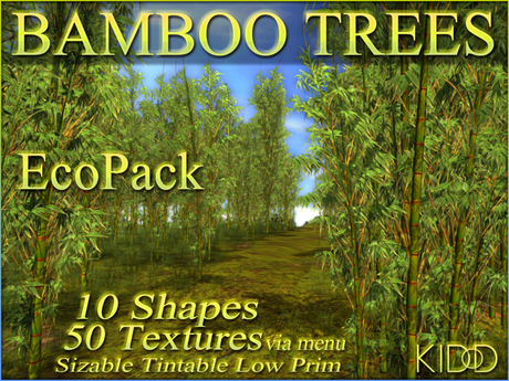 25 KIDD BAMBOO TREES * 50 Textures * 10 Shapes * Sizable * Tintable