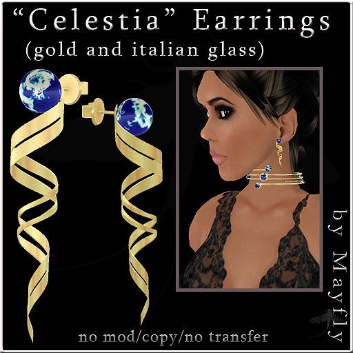 """Mayfly - """"Celestia"""" Earrings (gold & italian glass)"""