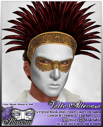 *~*Illusions*~* Volto Altezzoso Mask and Feather Crown
