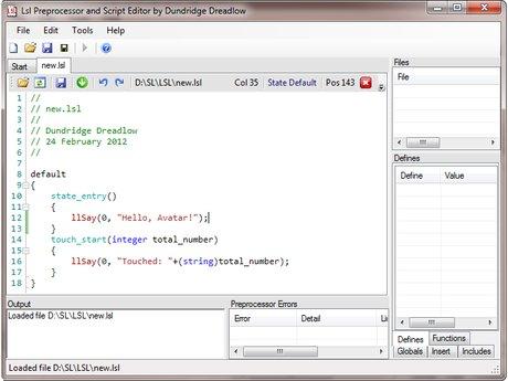 LSL Preprocessor and Editor