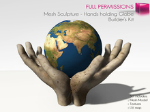 Full Perm Mesh Hands Holding Globe Sculpture - Builder's kit