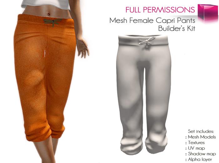 FULL PERM CLASSIC MESH Ladies Black Gray Orange Capri Pants 3 Textures 4 Sizes