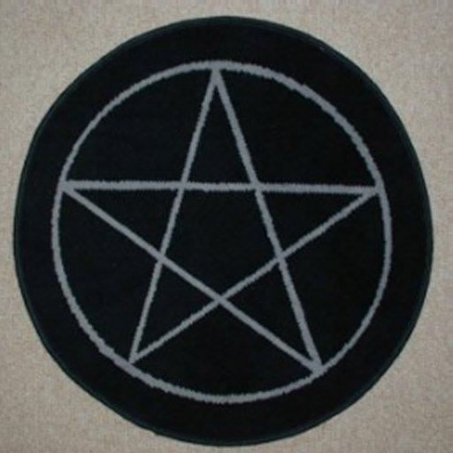 AFantasy Black Pentagram Circular Area Rug