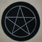 AFantasy Black Pentagram Circular Area Rug