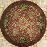 AFantasy Burgundy & Brown Circular Area Rug