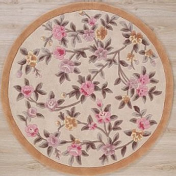 AFantasy Peach & Pink Floral Circular Area Rug