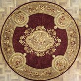 Afantasy Elegant Gold & Burgundy Circular Area Rug