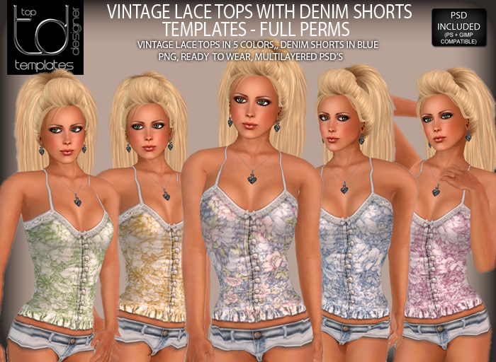 TD TEMPLATES Vintage Lace Tops with Denim Shorts Set Templates PNG & PSD FILES  - FULL PERMISSIONS