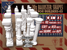 [FFBox] 20x Baluster Shapes Set-03 {MESH+Sculpt+Maps+Shadows, CMT} for Builders