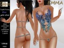 EB Atelier - EMMA Blue Top&Thong Lolas Omega Slink Appliers -italian designer