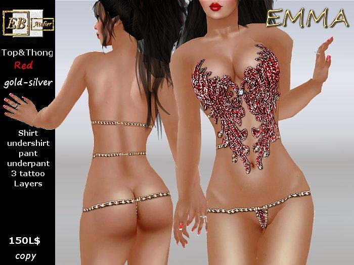 EB Atelier - EMMA Red Top&Thong w/ Lolas Omega Slink Appliers - italian designer