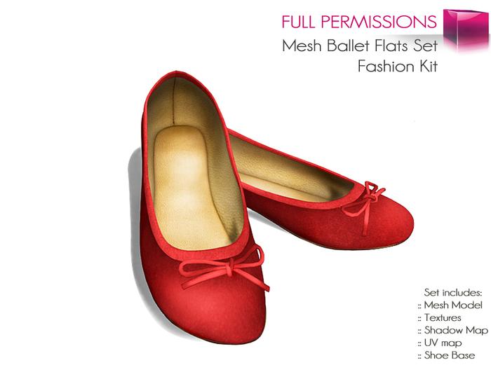 Full Perm Mesh Ballet Flats Set - Ballerina Flat Shoes - Fashion Kit