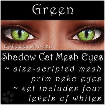 Ephemeral Neko - Shadow Cat Mesh Eyes (Green)
