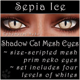 Ephemeral Neko - Shadow Cat Mesh Eyes (Sepia Ice)