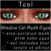 Ephemeral Neko - Shadow Cat Mesh Eyes (Teal)