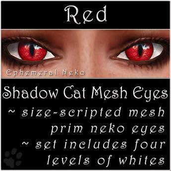 Ephemeral Neko - Shadow Cat Mesh Eyes (Red)