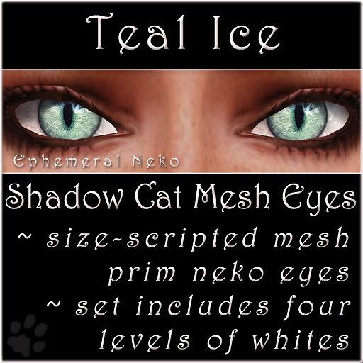 Ephemeral Neko - Shadow Cat Mesh Eyes (Teal Ice)