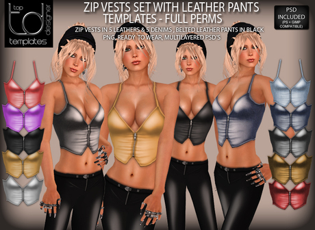 TD TEMPLATES Zip Vests with Belted Leather Pants Set Templates PNG & PSD FILES  - FULL PERMISSIONS