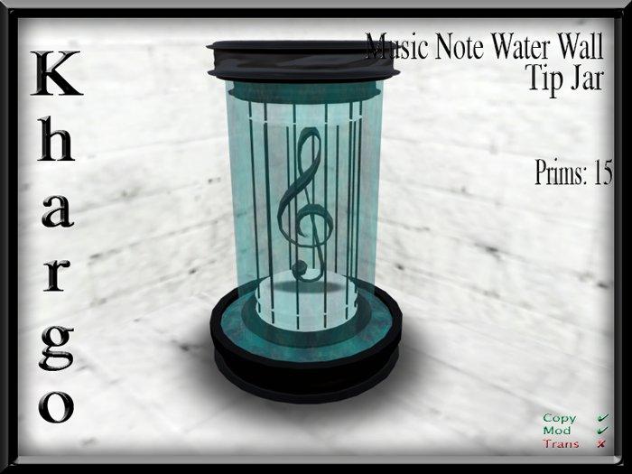 Khargo: Music Note Waterwall Tip Jar / Tipjar