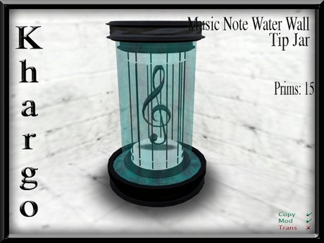 Second Life Marketplace Khargo Music Note Waterwall Tip Jar Tipjar
