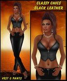 Classy Chics Black Leather Outfit - Belted Pants Bootleg and Full length, Zipper Vest in All Layers