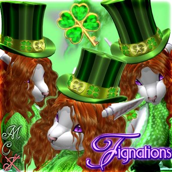 *Fig* SaintPatrick's Day Hat ~ 3tops+Shamrock pin