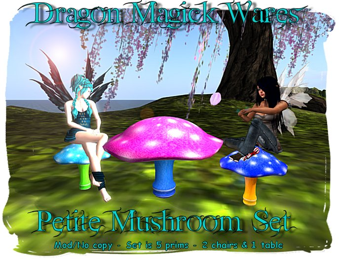Dragon Magick Wares Petite Mushroom Table and Chairs Set