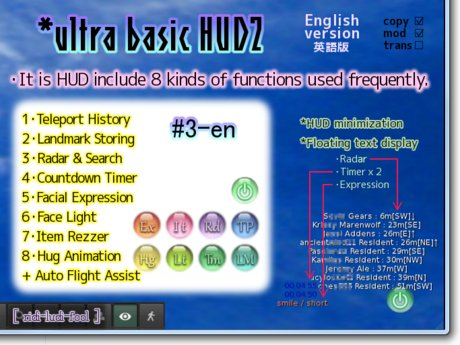 Easy and Convenient Multifunctional HUD (English version #3)★ Radar, Expression, Item Rezzer, Face Light and more!