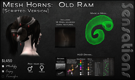 Sensations Mesh Horns - Old Ram
