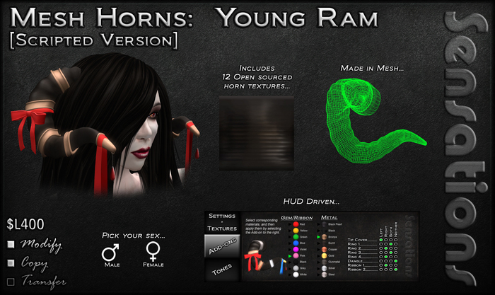 Sensations Mesh Horns - Young Ram
