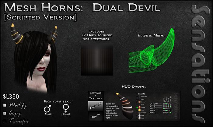 Sensations Mesh Horns - Dual Devil