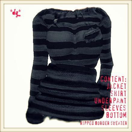 *dg*ripped border sweater gray