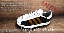 *db* Superstar Black Gold Sneakers Detailed Leather Texture