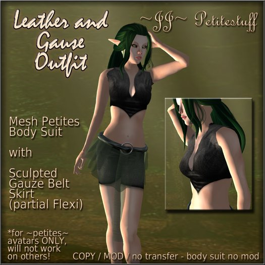 ~JJ~ Petitestuff Leather and Gauze Outfit